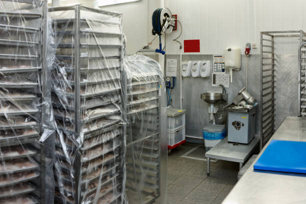 Food processing plant storage room stock photo