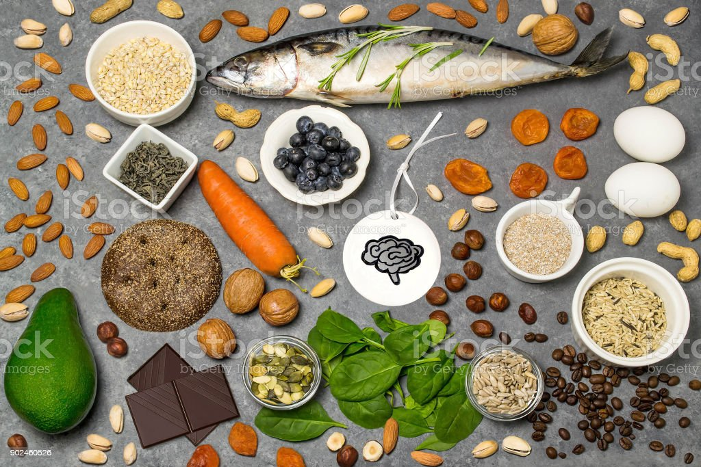 Food products useful for brain function stock photo