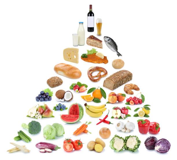 lebensmittelpyramide gesund essen obst und gemüse obst collage isoliert - pyramide sammlung stock-fotos und bilder