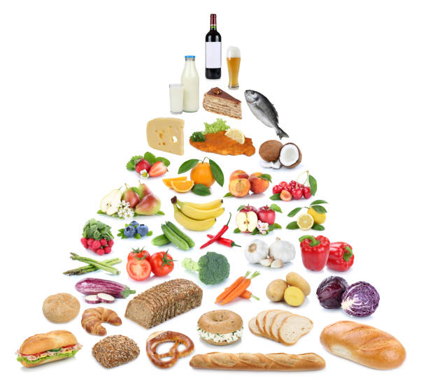 lebensmittelpyramide gesund essen obst und gemüse obst sammlung isoliert - pyramide sammlung stock-fotos und bilder