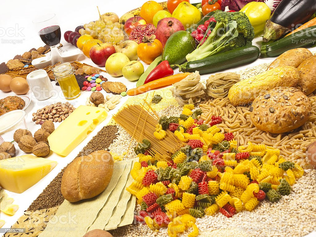 Food pyramid with all sorts of food stock photo