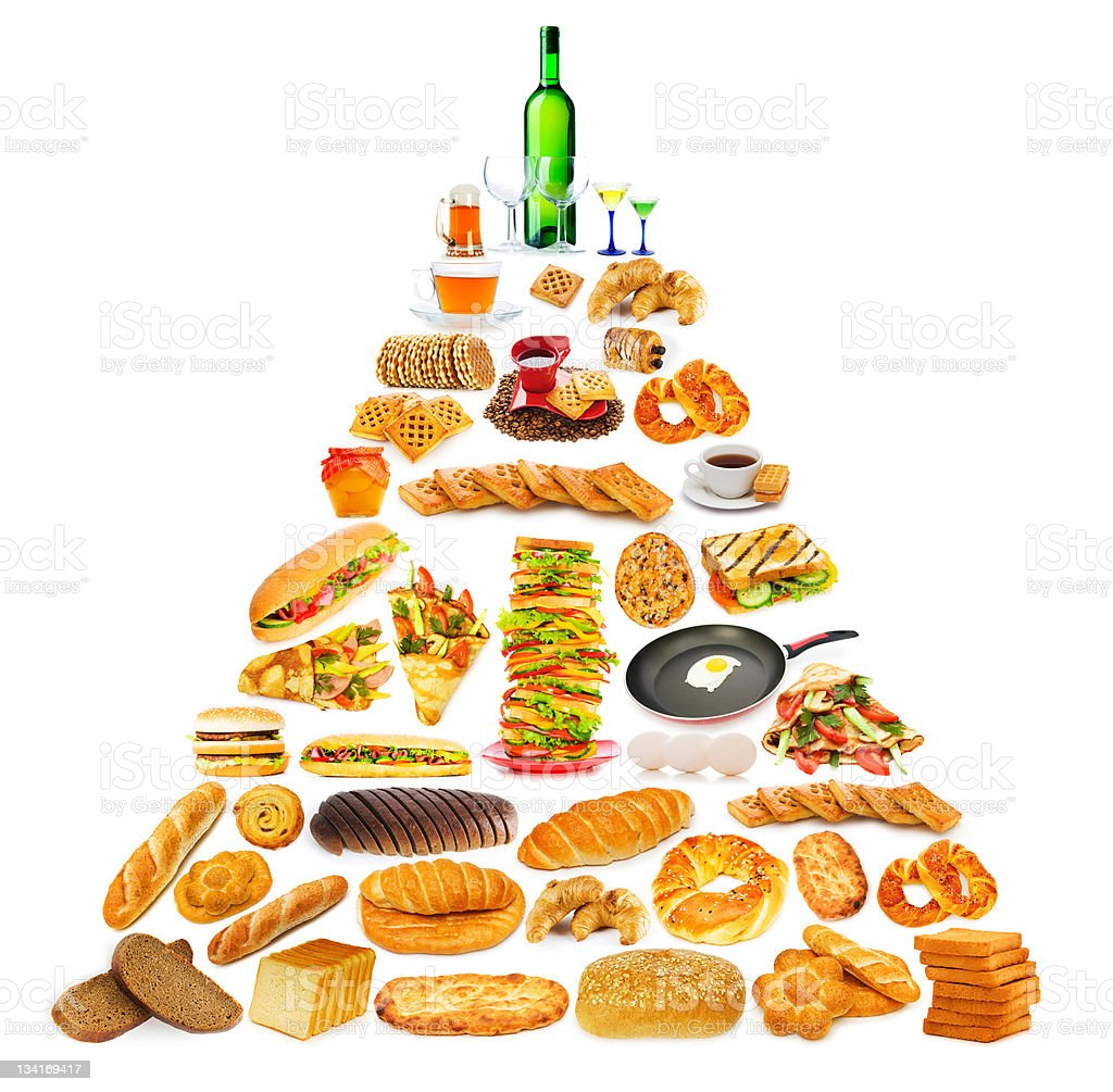 Food pyramid with lots of items royalty-free stock photo