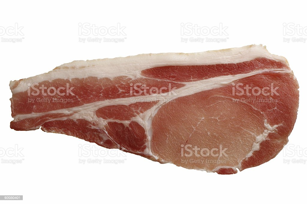 food -  raw slice of bacon on white clipping path royalty-free stock photo