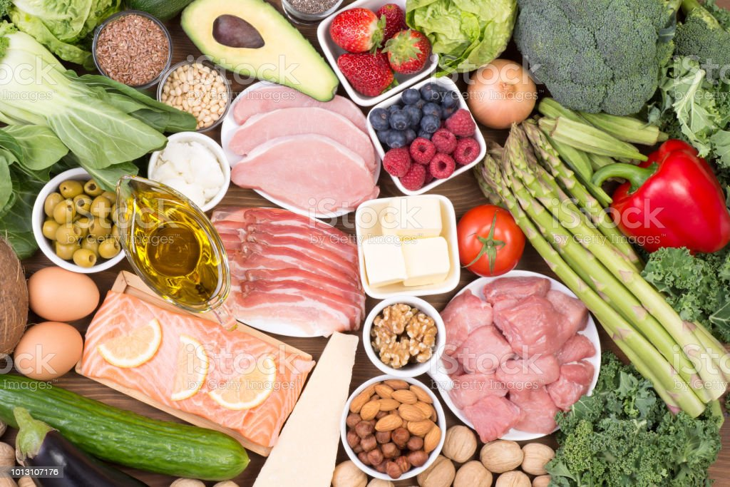 Food recomended on low carb diet or ketogenic diet royalty-free stock photo