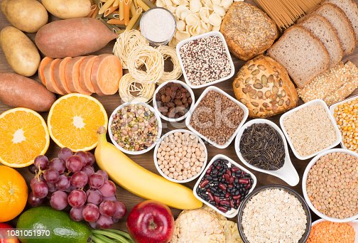 Healthy food rich in carbohydrates, top view