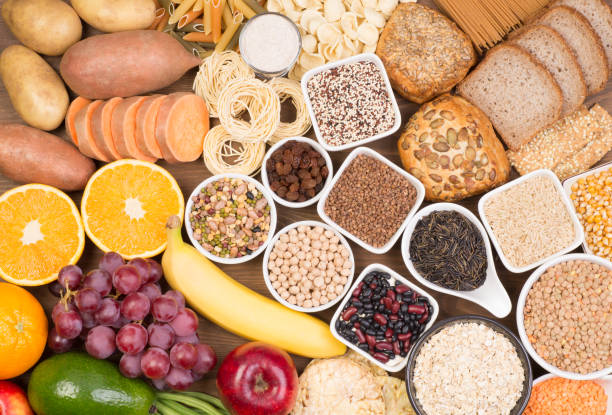 Food rich in carbohydrates, top view stock photo