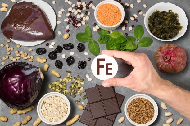 Food rich in ferrum stock photo