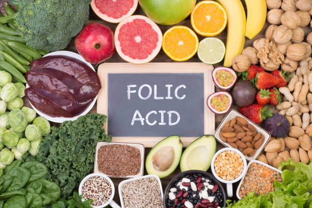 Food rich in folic acid stock photo
