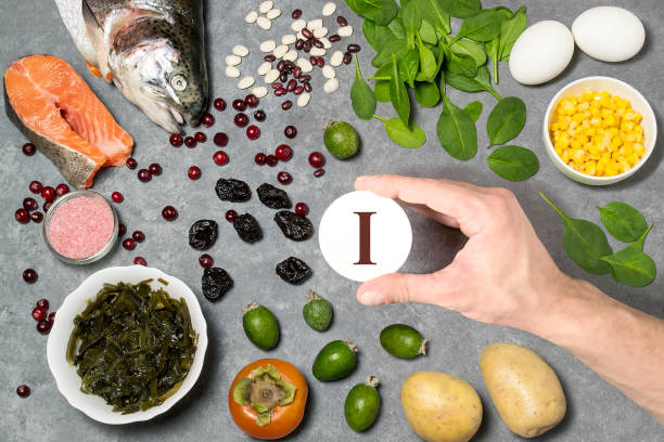 Food rich in iodine stock photo