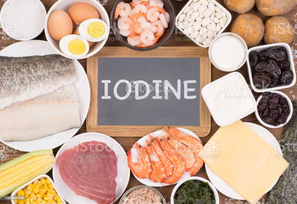 Food rich in iodine. Various natural sources of vitamins and...