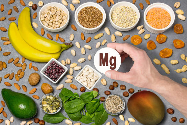Food rich in magnesium (Mg) stock photo