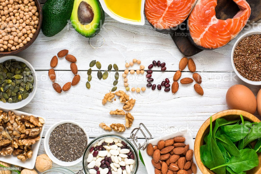 Food rich in omega 3 fatty acid and healthy animal and planty fats. Healthy diet eating concept stock photo