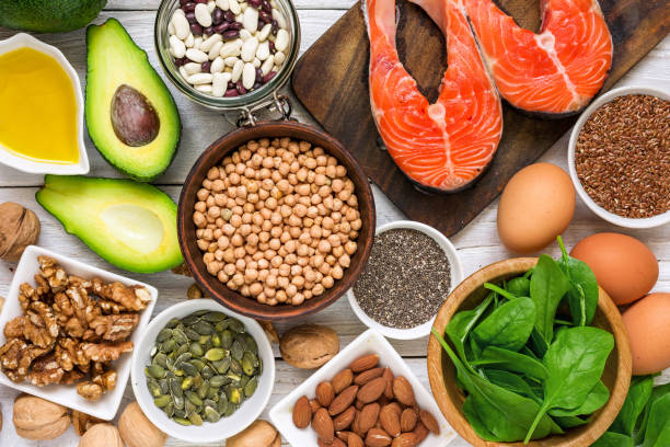 Food rich in omega 3 fatty acid and healthy fats. Healthy diet eating concept stock photo