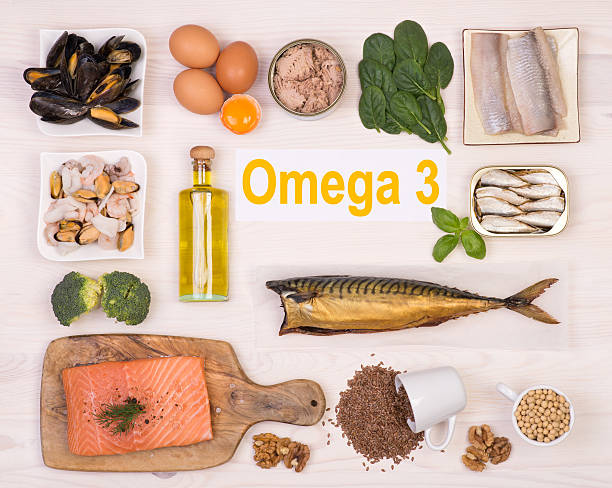 Food rich in omega 3 fatty acid stock photo