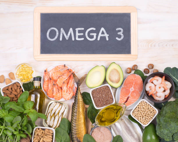 Food rich in Omega 3 fatty acids stock photo