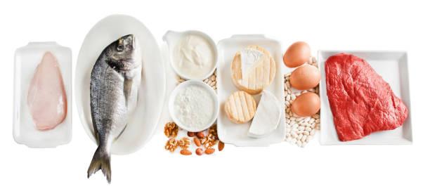 lebensmittel reich an protein - barschrank stock-fotos und bilder