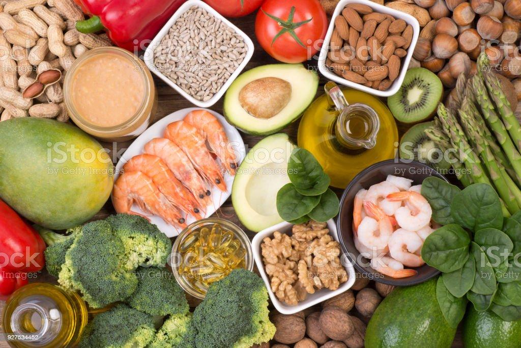 Food rich in vitamine E stock photo