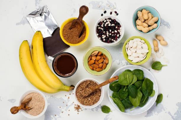 food rich of magnesium - magnesium stock photos and pictures