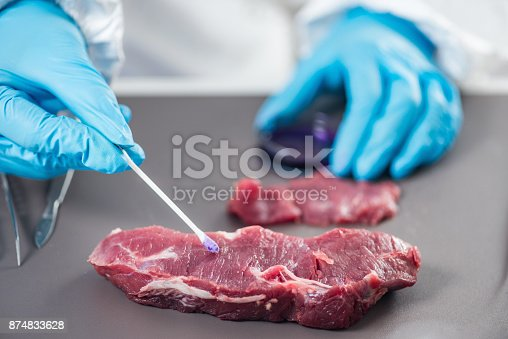 istock Food safety laboratory technician testing red meat 874833628