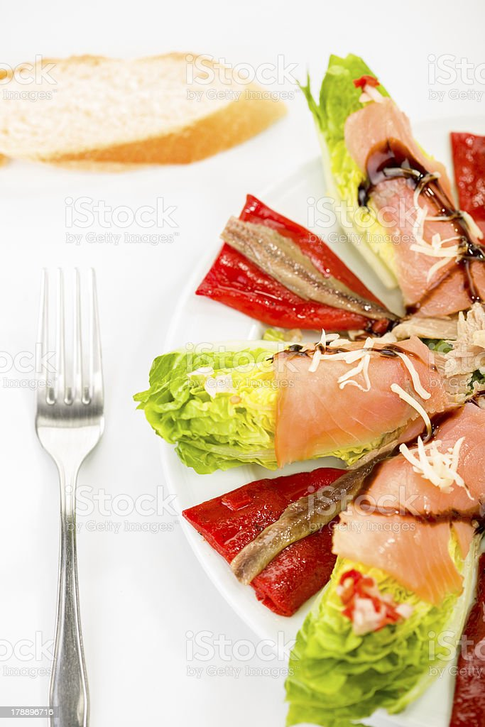 food salmon anchovy salad royalty-free stock photo