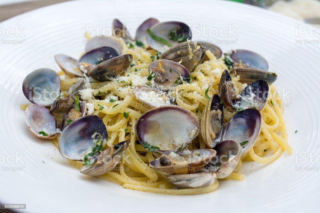 Food : Seafood Spaghetti, vongole - foto de stock