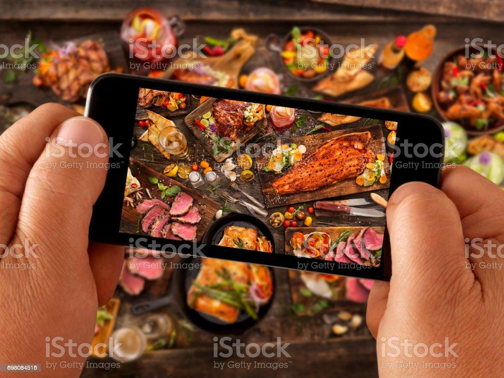 Selfie alimentaire de bbq fête - Photo