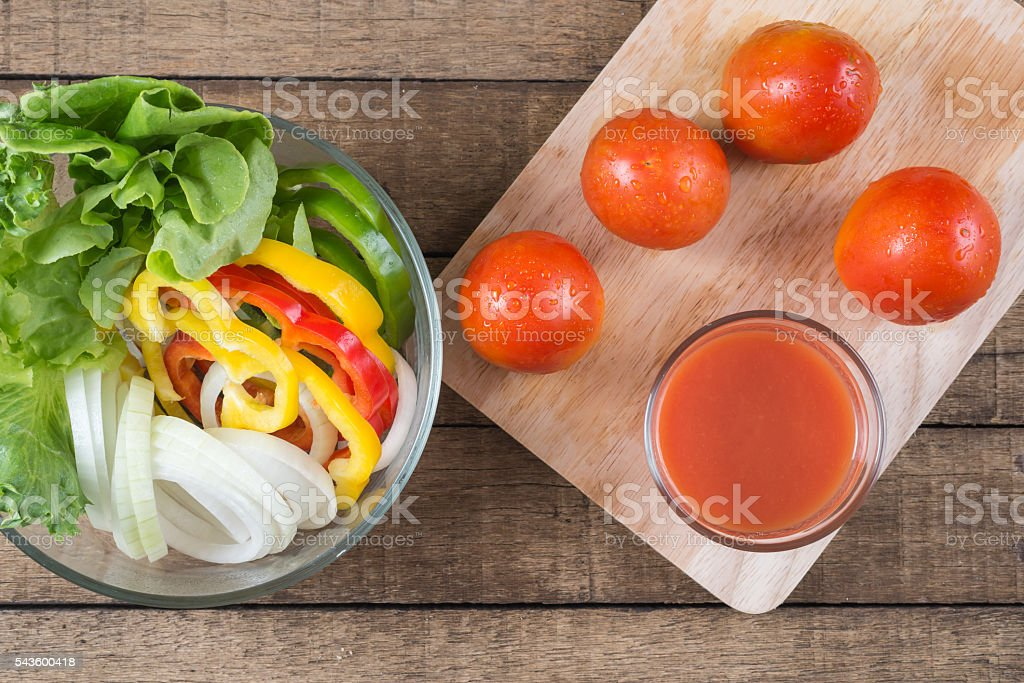 Food series : Bowl of salad and tomatoes juice stock photo