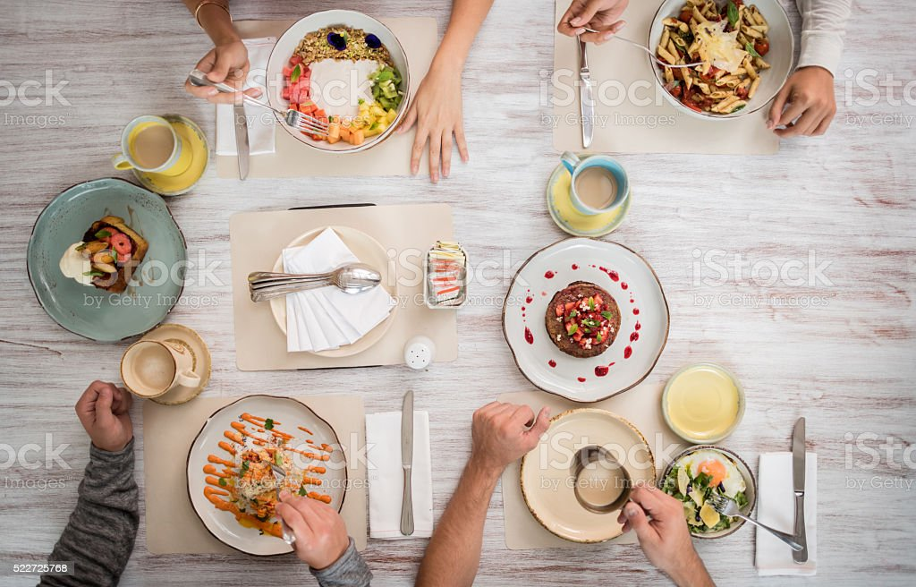 Food served at a restaurant stock photo