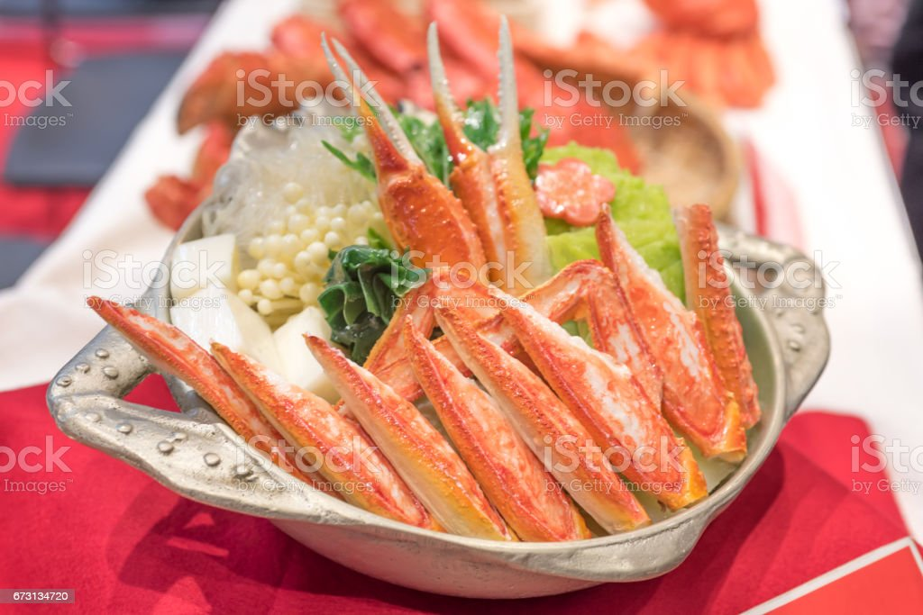Food served in a pot Japan of the crab royalty-free stock photo