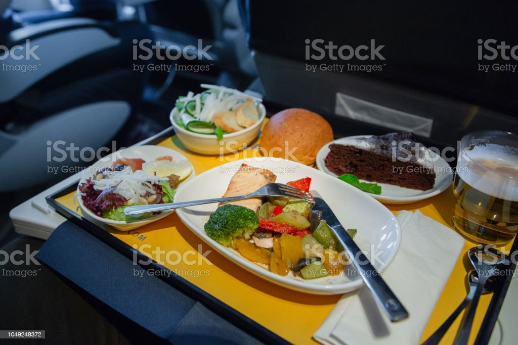 Food served on board of business class airplane stock photo