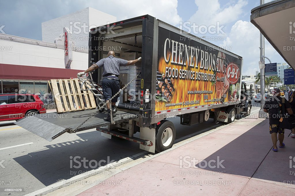 Food Service Distributors Delivery Truck Stock Photo