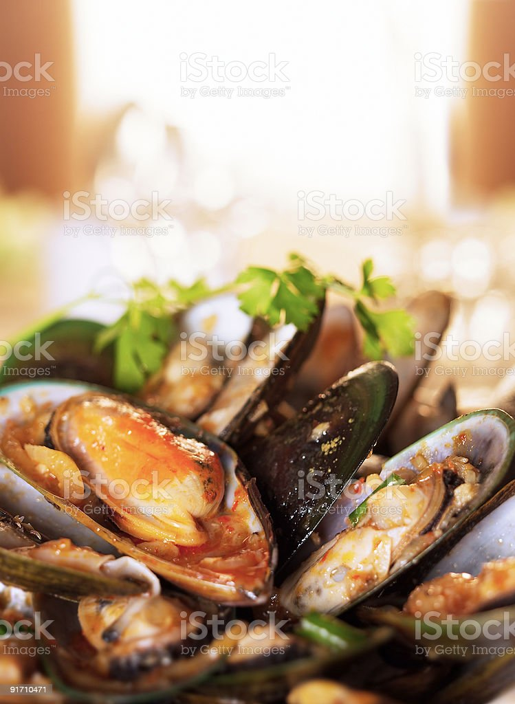 Food Shot - Green Mussels stock photo
