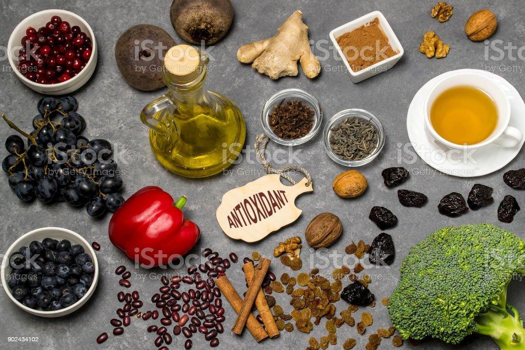 Food sources natural antioxidants stock photo