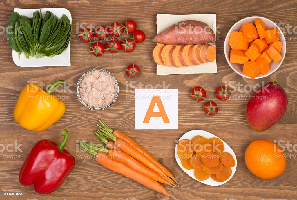 Food sources of beta carotene and vitamin A stock photo