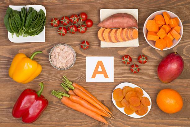 comida fuentes de beta caroteno y vitamina a - vitamina a fotografías e imágenes de stock