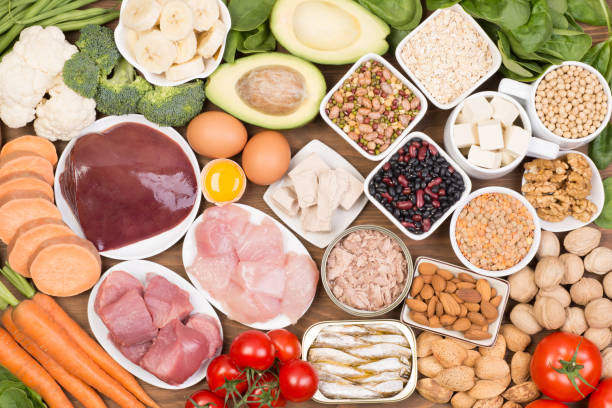 Food sources of biotin stock photo