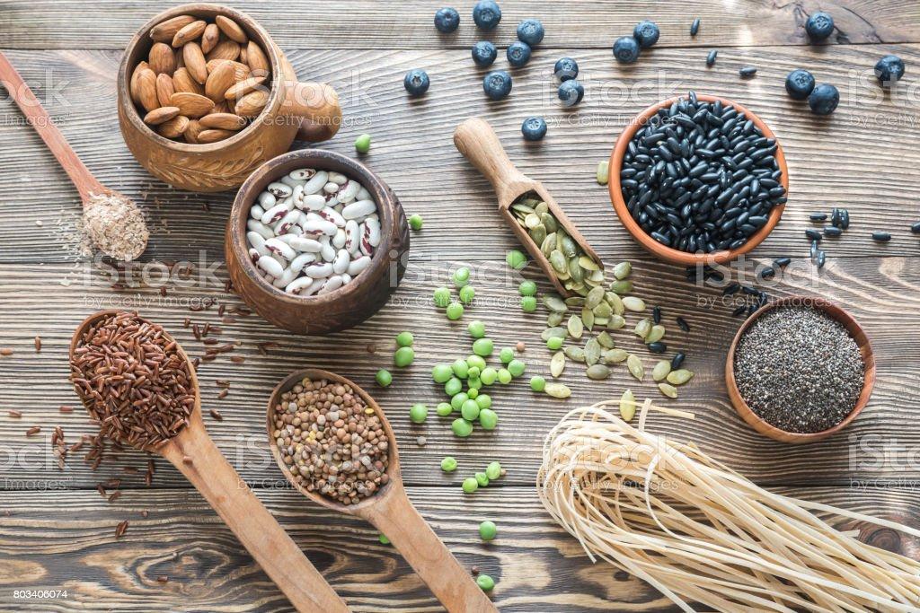 Food sources of fiber stock photo