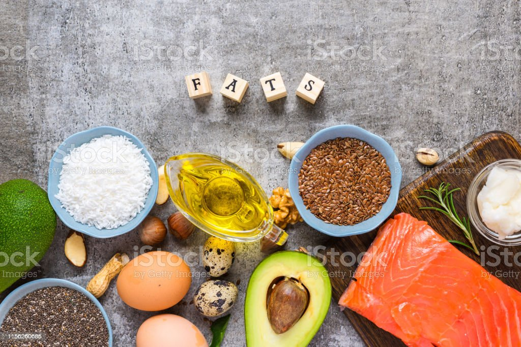 food sources of omega 3 and unsaturated healthy fats. Concept of...