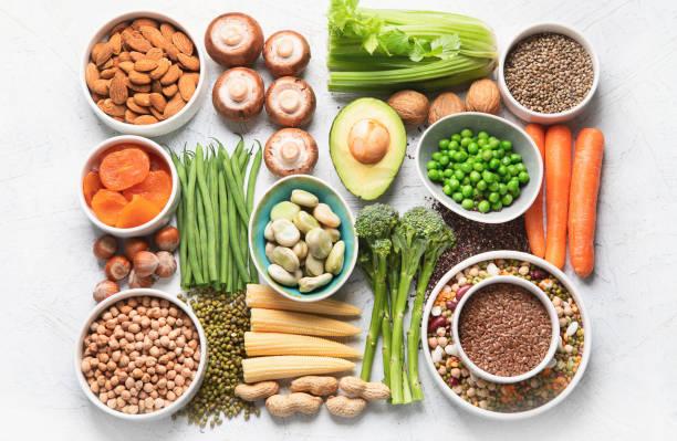 fuentes alimentarias de proteínas vegetales. - fibra fotografías e imágenes de stock