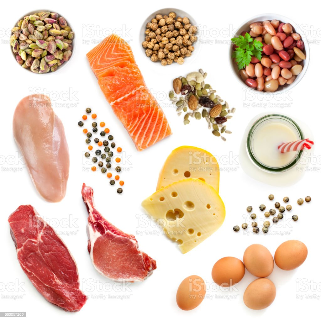 Food Sources of Protein Isolated Top View stock photo