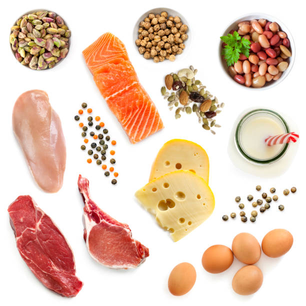 food sources of protein isolated top view - protein stock photos and pictures