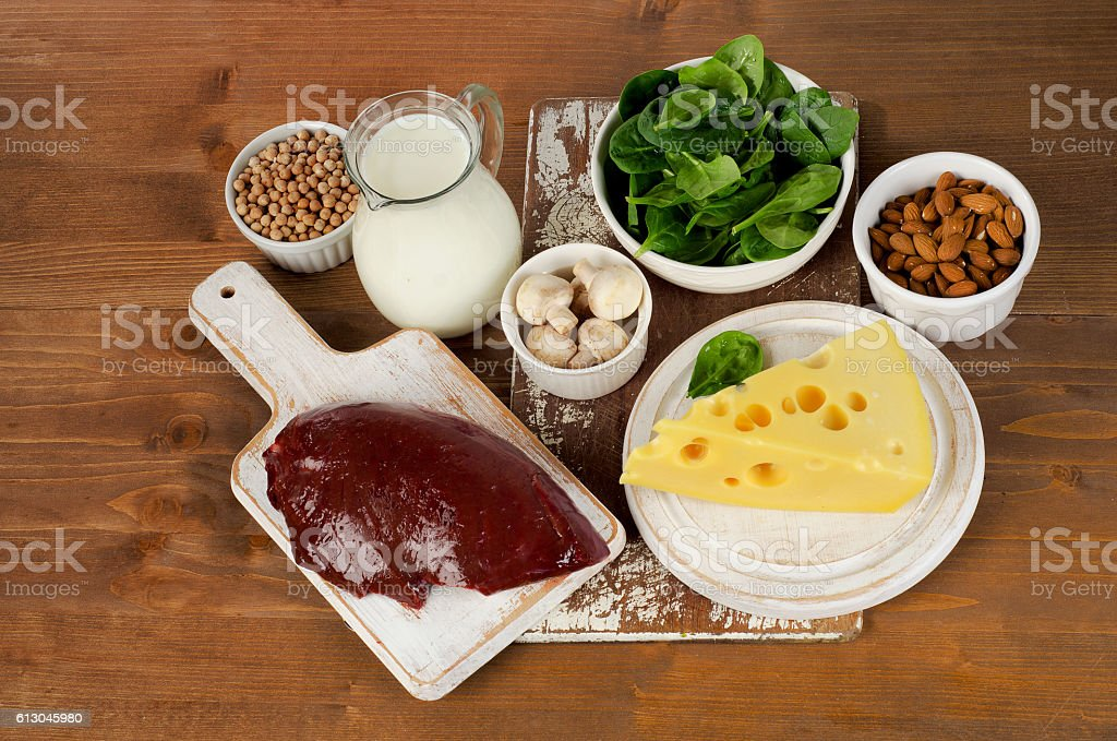 Food sources of vitamin B2 stock photo