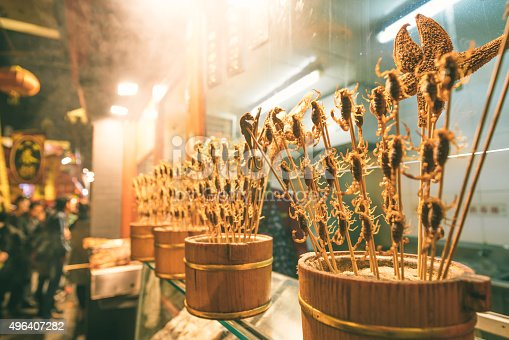 istock Food stall with Fried Scorpions in Beijing, China 496407282