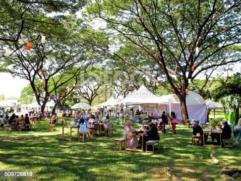 Bangkok, Thailand - December 1, 2013: Food stalls in flora festival at Suan Luang Rama 9 (botanical garden).