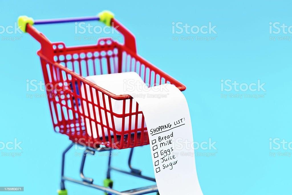 Food staple shopping list in tiny supermarket trolley royalty-free stock photo