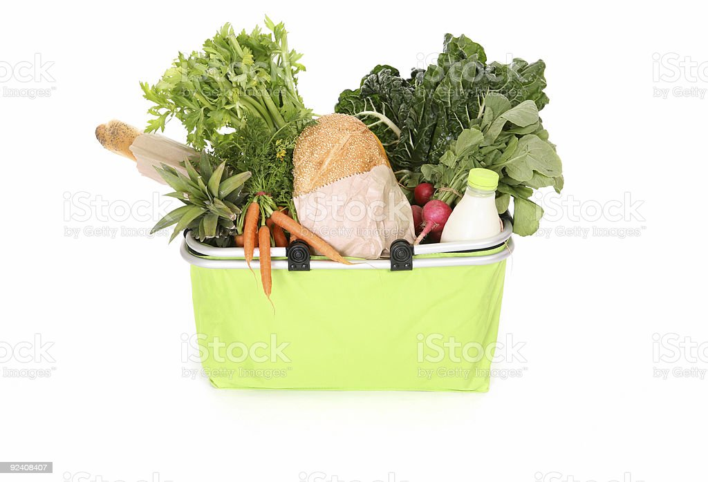 Food staples in eco shopping bag royalty-free stock photo