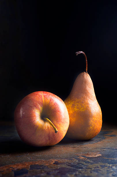 Food Still Life - Apple and Pear stock photo