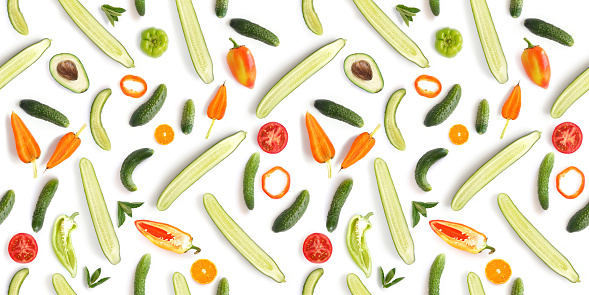 Food Texture Seamless Pattern Of Fresh Vegetables Isolated ...