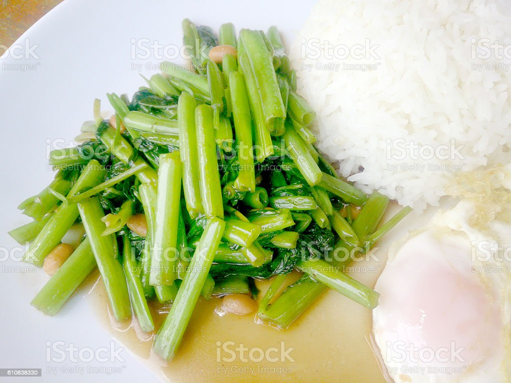 Food Thai in Asian, green morning glory vegetable stock photo