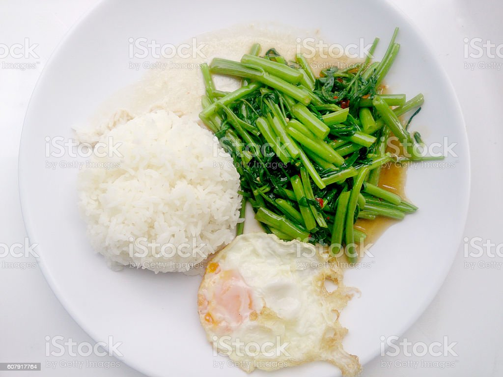 Food Thai in Asian, Stir Fried Water Spinach, Vegetarian Food, stock photo